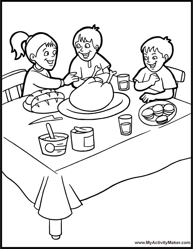 Thanksgiving Coloring Pages Thanksgiving Dinner Coloring Pages
