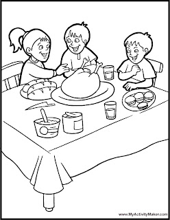kids enjoying Thanksgiving dinner printables