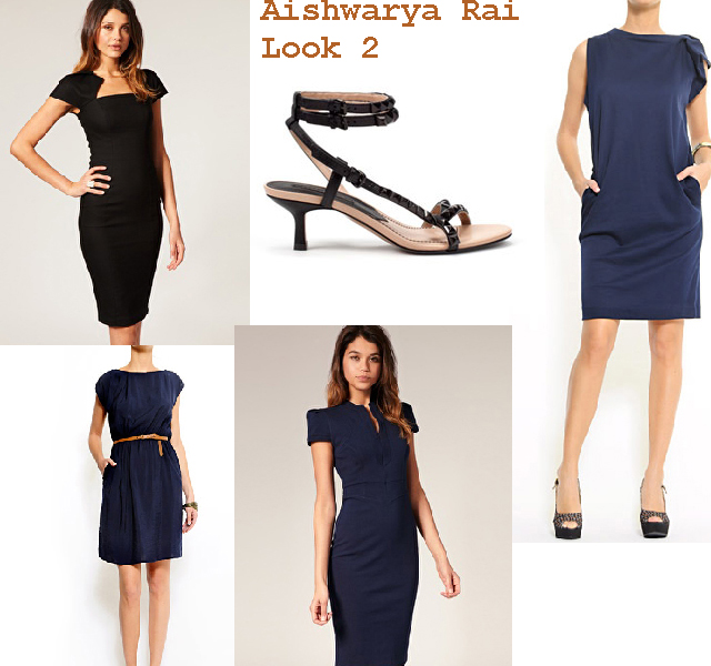 Vestido negro con zapatos azul marino