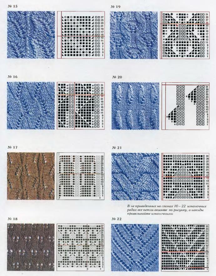 Ажурные узоры спицами со схемами