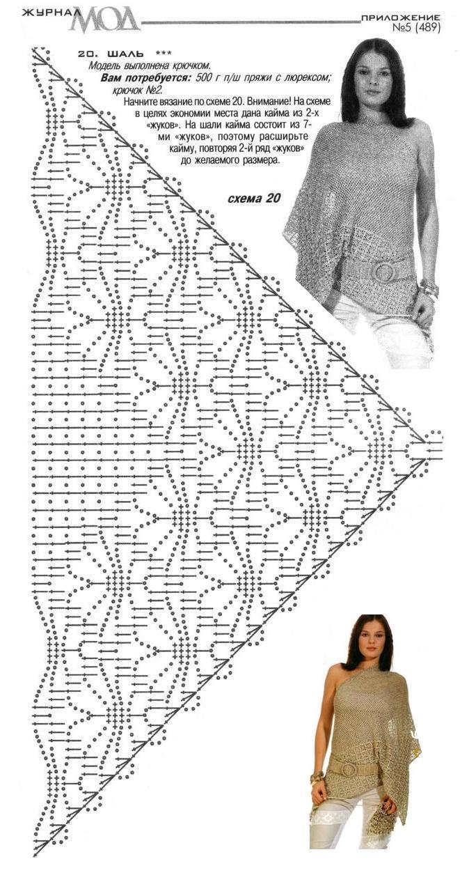 Ажурное вязание шали от угла 812