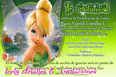 Invitaciónes de cumpleaños campanita gratis - Imagui