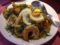 Shrimp in white wine, olive oil and mustard sauce with dill