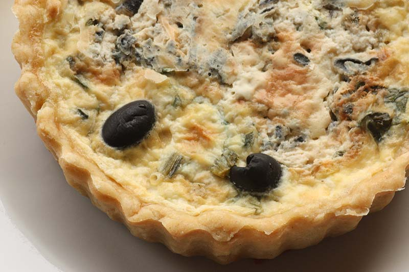 A2K - A Seasonal Veg Table: Swiss chard and black olive Quiche