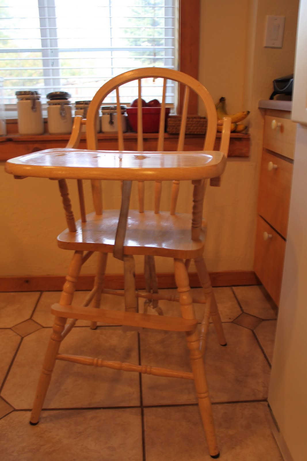 Get your wooden piece of furniture  in my case it was this AWESOME solid  wood highchair that I mentioned  HERE. do it yourself divas  DIY  Stripping Paint  Stain  and Varnish off