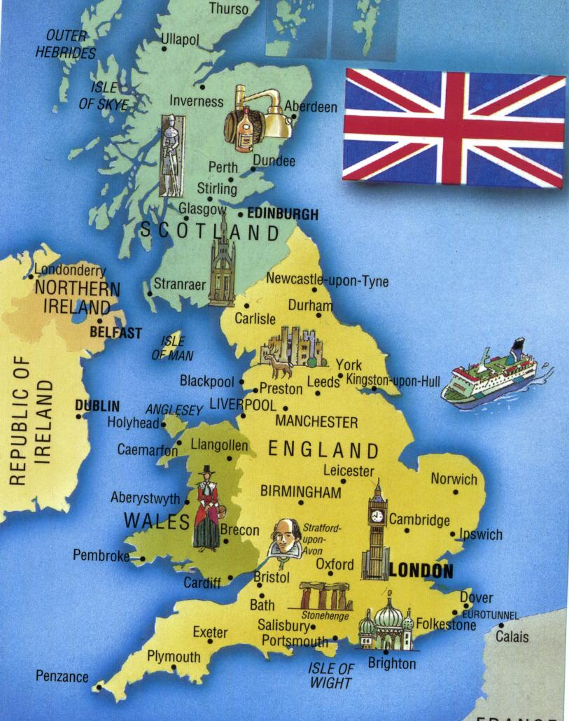 Map of the united kingdom and you can also see its flag the union jack