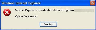 Internet Explorer. Operación anulada.