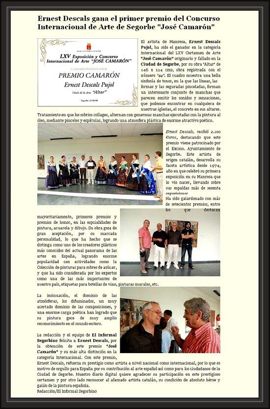 SEGORBE-INFORMAL SEGORBINO-ALTO PALANCIA-PREMIO PINTURA-ERNEST DESCALS