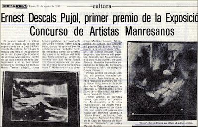 ARTISTES MANRESANS-PRENSA-ERNEST DESCALS-PRIMER PREMIO-PINTURA