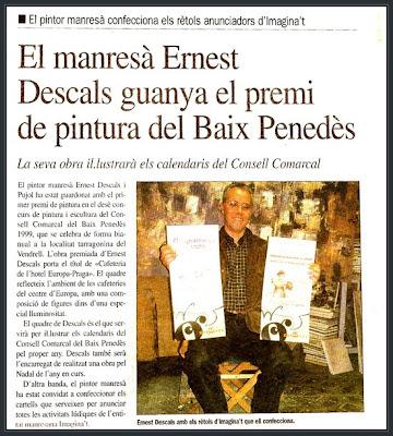 EL VENDRELL-PRENSA-PREMIOS PINTURA-ERNEST DESCALS-CARTELES-IMAGINA´T