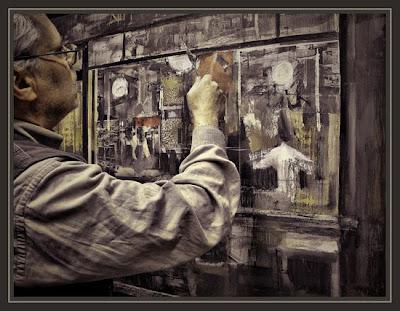 EL ARTISTA PINTOR ERNEST DESCALS PINTANDO EN SU ESTUDIO