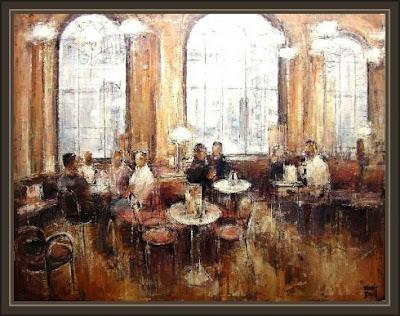 VIENA-CAFE CENTRAL-AUSTRIA-CAFETERIAS-ARTE-PINTURA-ERNEST DESCALS
