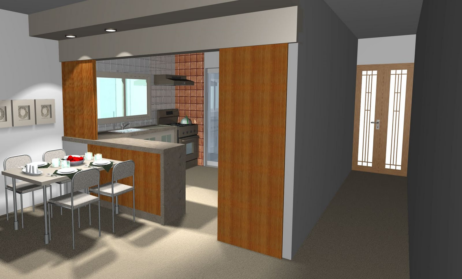 dentro da cozinha e colocação de uma mesa pequena para quatro ou  #79481E 1600 966
