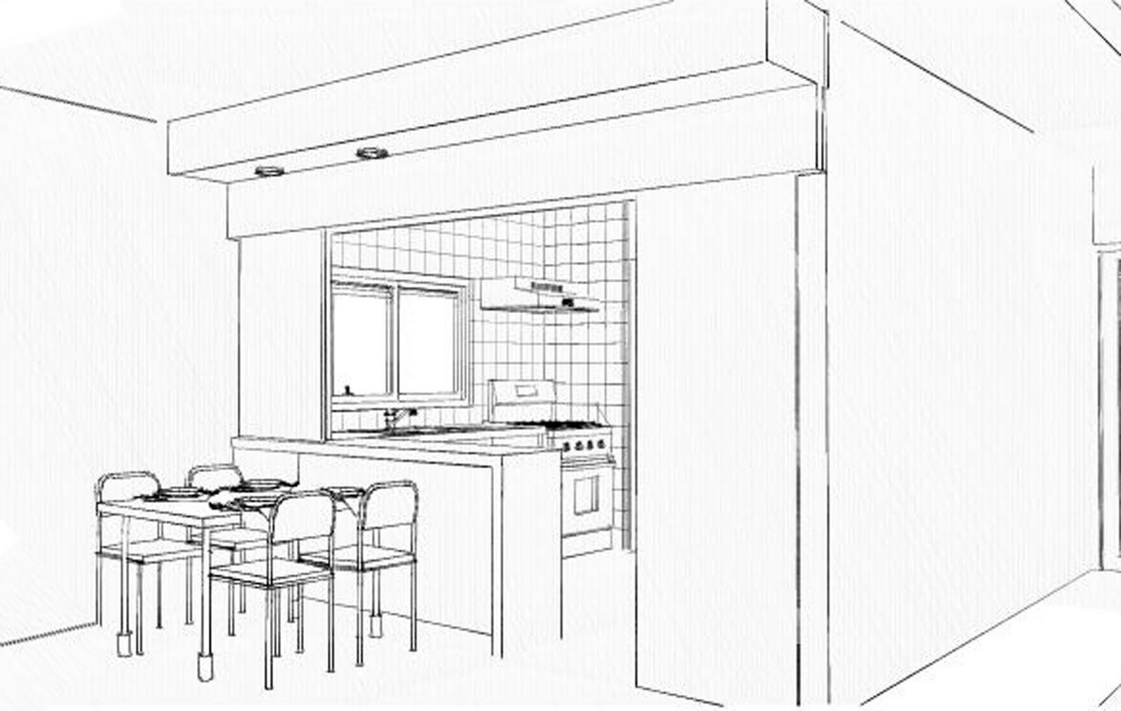 dentro da cozinha e colocação de uma mesa pequena para quatro ou  #343434 1600 1015