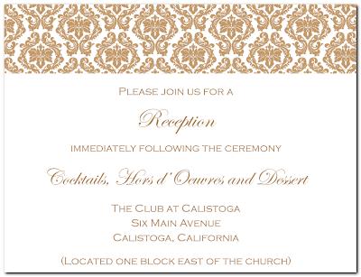 Adorns Front Elegant Wedding Reception Card Text Reads