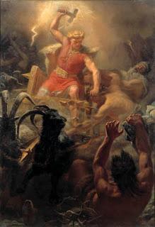 Nordische Mythologie Thor auf Wagen, Hammer und Ziegen