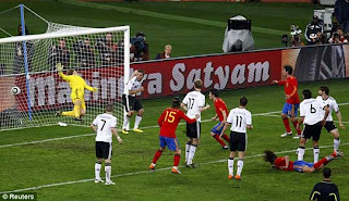 Goal Score By Puyol, Germany Goalkeeper Can't Reached The Ball