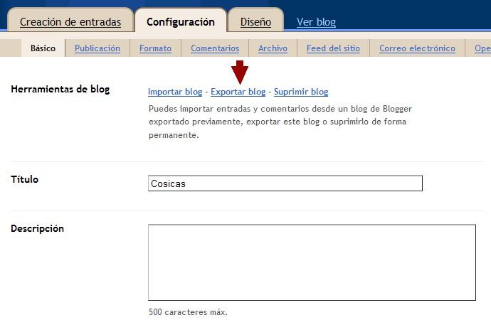 Exportar entradas del blog