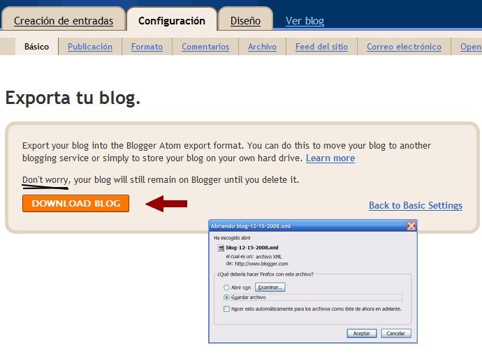 Panel de control Blogger