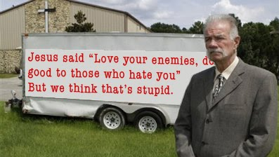 Ironic picture of Terry Jones and a Bible misquote.