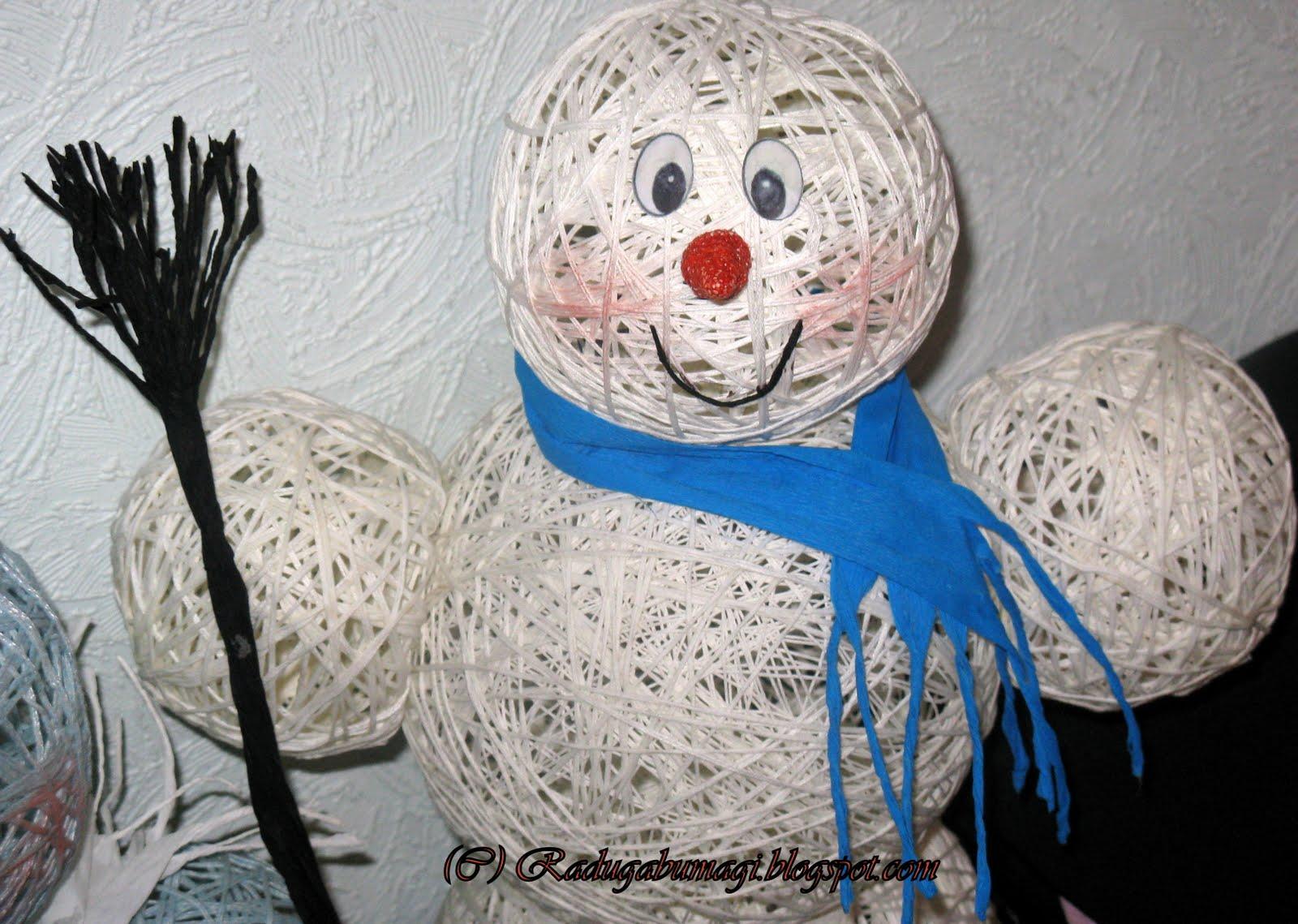 Снеговик из ниток своими руками - пошаговое фото - как сделать 58