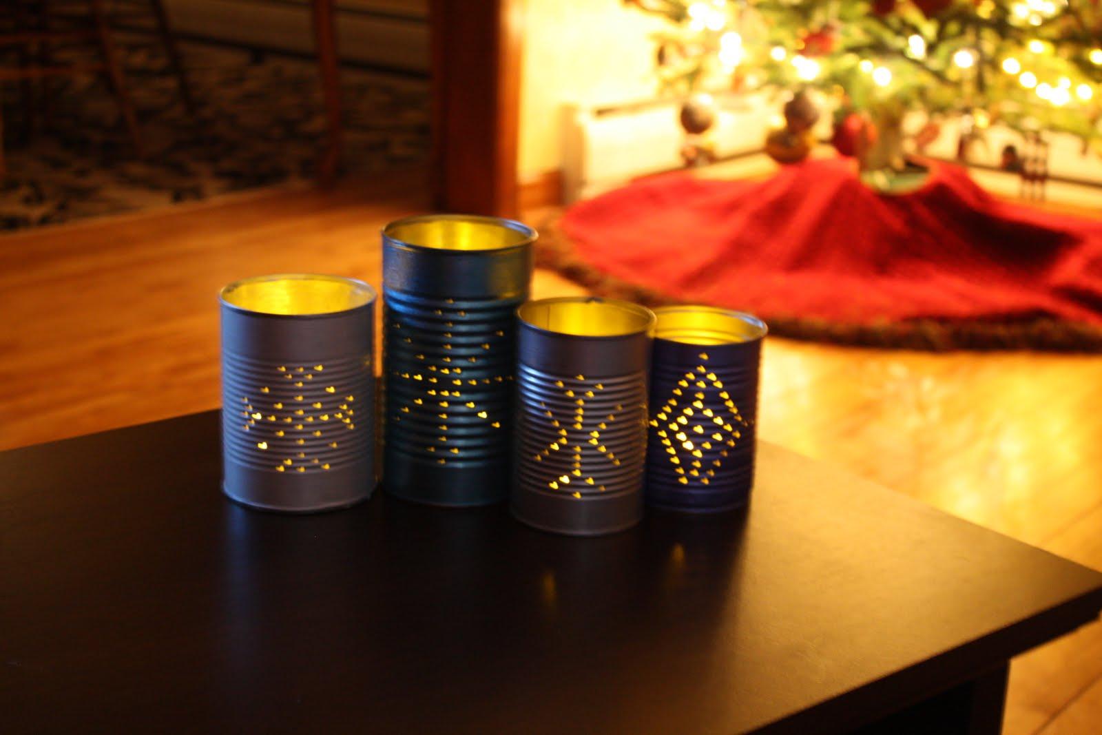 Life at willow cottage tin can luminaries for Making luminaries