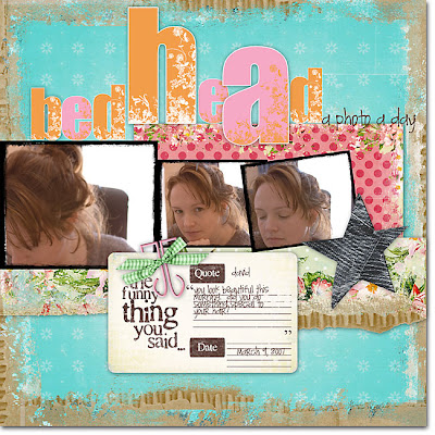 Dare 61 Challenge Layout titled Bedhead created by Julie Ann Shahin