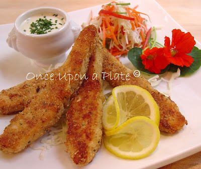 Once upon a plate crispy oven fried parmesan fish sticks for Salmon fish sticks