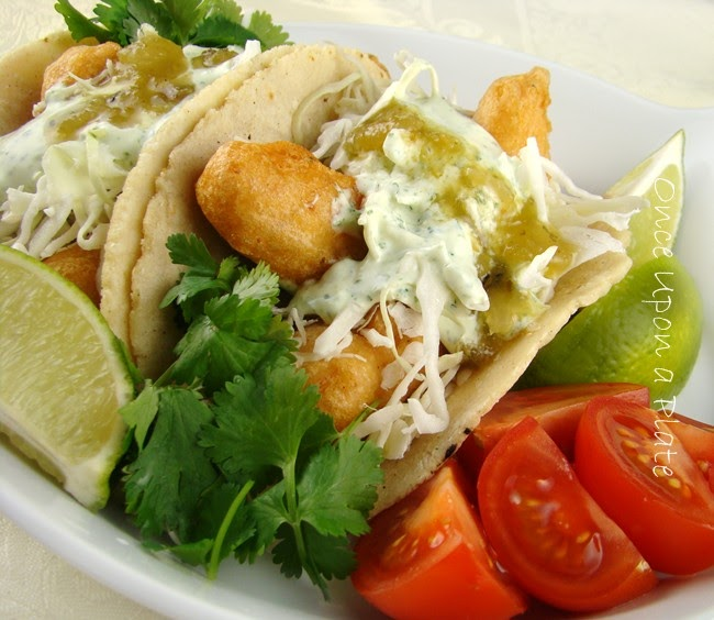 Once upon a plate crispy fish tacos in soft homemade for Rubios fish tacos