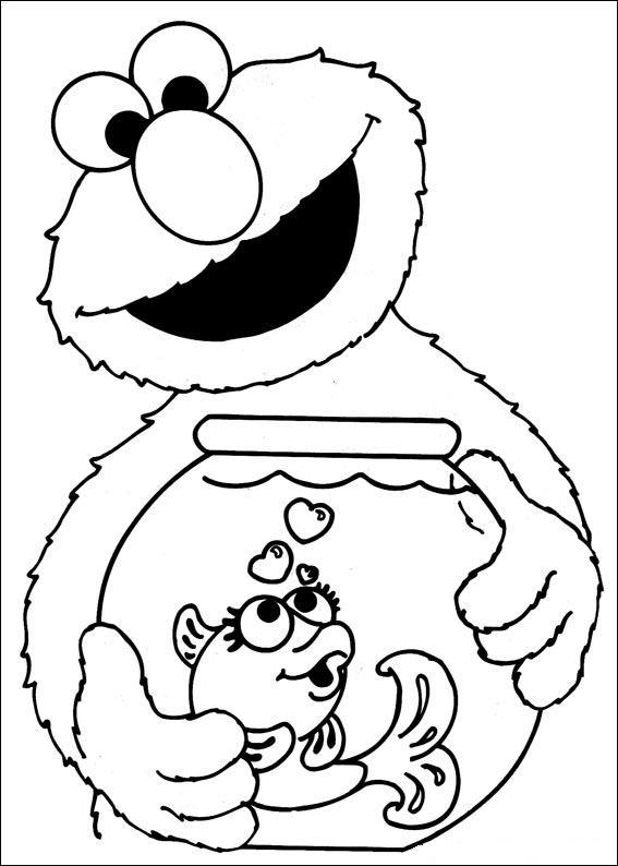 Elmo con Pecera para colorear