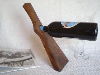 Smile Moon Woodworks - Walnut Gunstock Balancing Wine Bottle Holder