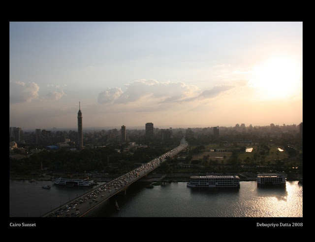 Sunset . . . seems that Cairo skyline is aflame