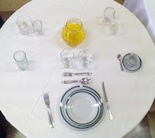 Vajilla económica  Copa Vino/ Sidra - Platos UD (Filete Verde) y Cubiertos Carol