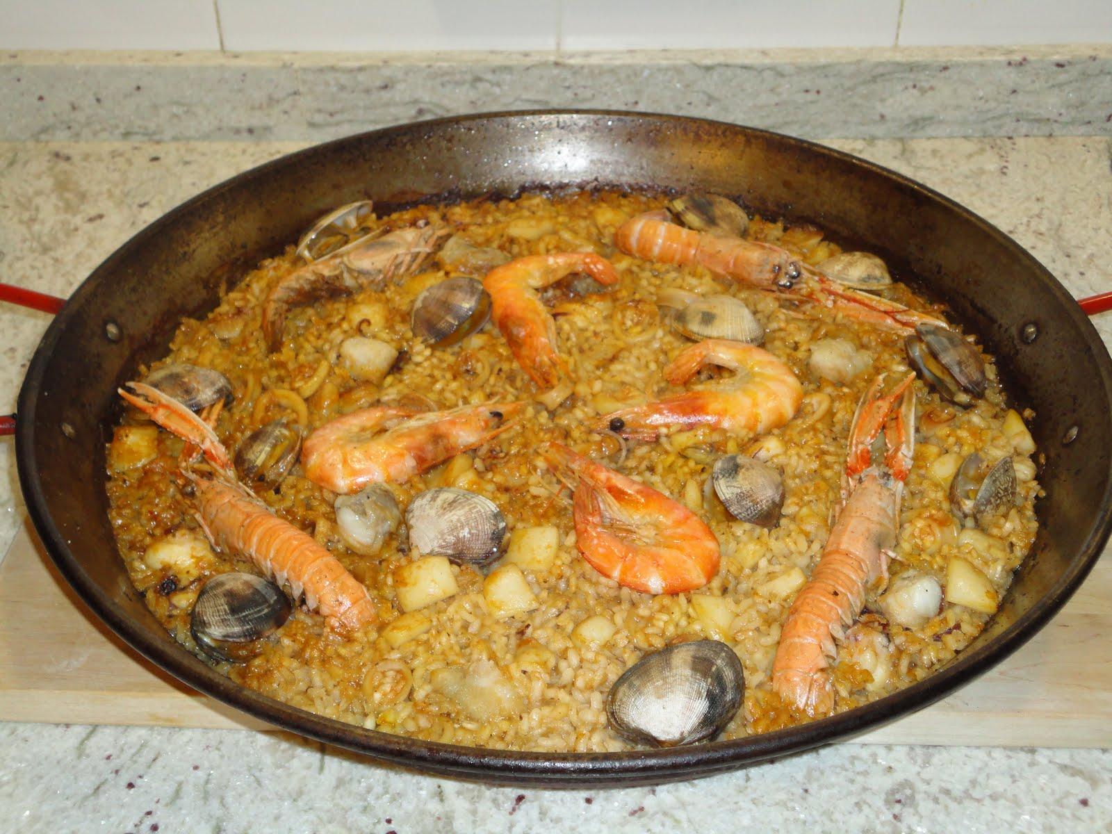 Del mercado al plato paella de pescado y marisco - Paella de pescado ...
