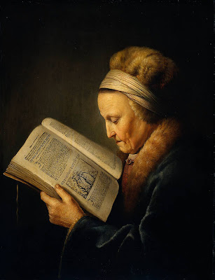 Gerrit Dou Painting Old Woman Reading a Bible