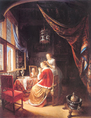 Gerrit Dou Painting Lady at Her Toilette