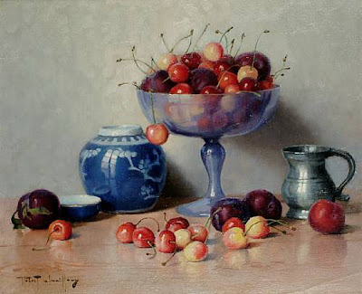 Still Life painting with cherries by Robert Chailloux
