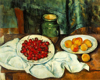 Still Life painting by Paul Cezanne. Still Life with a Plate of Cherries