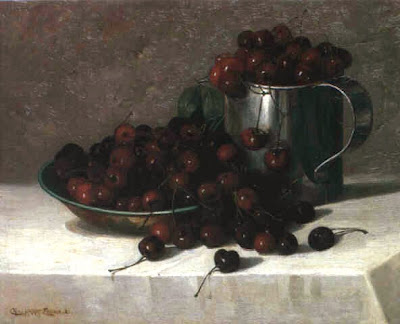 Still Life painting by Charles Harry Eaton. Cherries, 1882