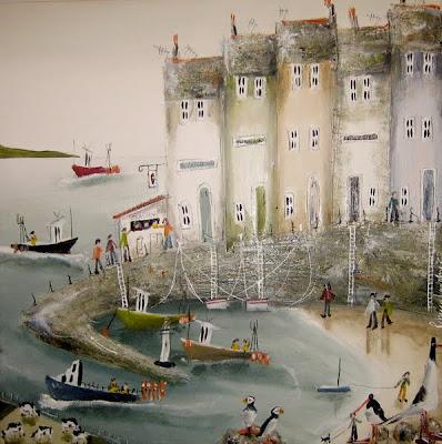 rebecca lardner-英國女畫家-壯麗的海邊生活令人驚嘆的景象,在大自然中呈現, 調色板的藍色.綠色.灰色。。。 - ☆平平.淡淡.也是真☆  - ☆☆。 平平。淡淡。也是真。☆☆ 。