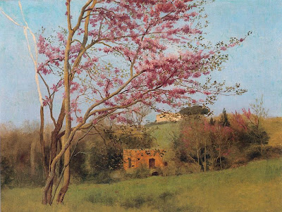 Spring Bloom in Painting. John William Godward, Landscape Blossoming Red Almond