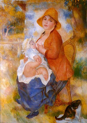 Painting by Pierre-Auguste Renoir Motherhood (also known as Woman Breast Feeding Her Child), 1886