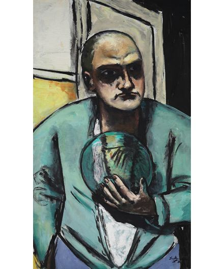 Max Beckmann, Self-Portrait with Crystal Ball,Crystal Ball in Painting, oil paintings, canvas painting,Figurative painting