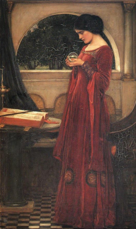 John William Waterhouse, The Crystal Ball,Crystal Ball in Painting, oil paintings, canvas painting,Figurative painting