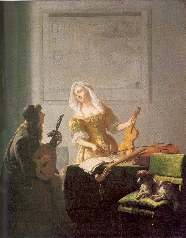 Women and Music in Painting 16-18th c, Jacob Ochterveldt, The Music Lesson