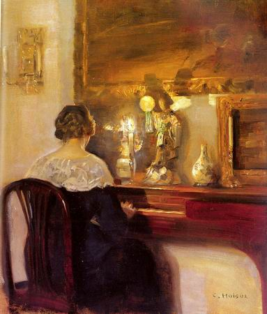 Women and Music in Painting 16-18th c, Carl Wilhelm Holsoe A Lady Playing a Spinet