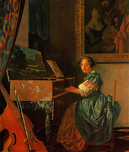 Women and Music in Painting 16-18th c, Jan Vermeer van Delft, A Lady Seated at a Virginal
