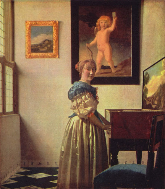 Women and Music in Painting 16-18th c, Jan Vermeer van Delft, A Lady Standing at a Virginal