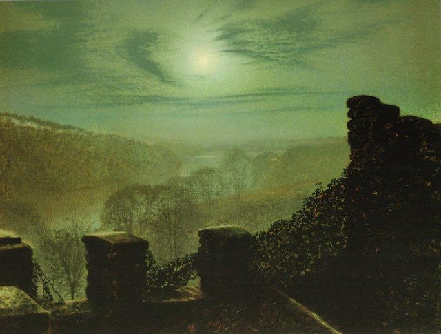 Atkinson Grimshaw,Landscape oil painting,figurative painting,moon in painting