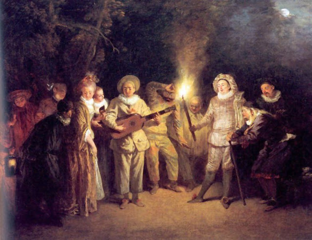 Painting by Jean-Antoine Watteau,Landscape oil painting,figurative painting,moon in painting